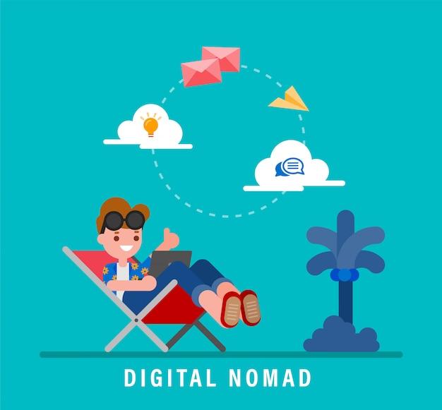 デジタル遊牧民の概念図。休暇中にノートパソコンで作業する若い大人。どこからでも作業できます。ベクトルフラットデザインの漫画のキャラクター。