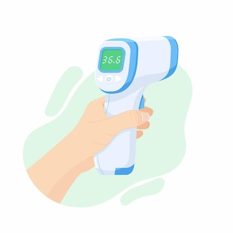 의사 손에 디지털 비접촉 적외선 온도계 프리미엄 벡터