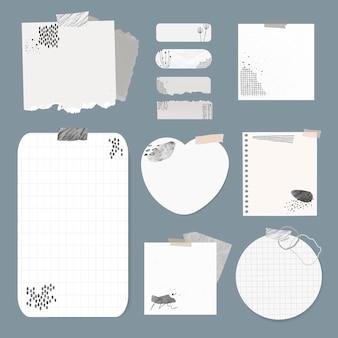 Set di elementi vettoriali per note digitali con disegno di memphis