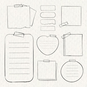 Digital note vector set in hand drawn style