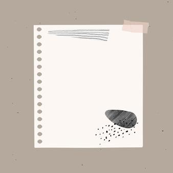Elemento di carta bianca vettoriale nota digitale in stile memphis