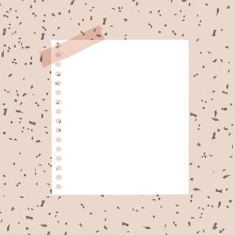 Elemento di carta bianca di vettore di nota digitale