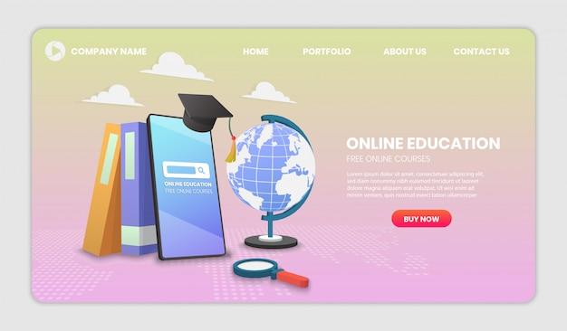 Обучение применению цифрового онлайн-образования. современные векторные иллюстрации концепции для веб-сайтов и мобильных веб-сайтов.