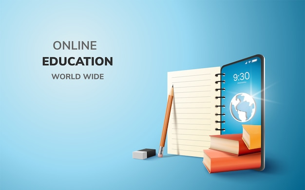Digital online education application learning world wide on phone.