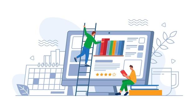 Цифровое онлайн-образовательное приложение или человек приложения, выбирающий новую книгу на экране компьютера вектор