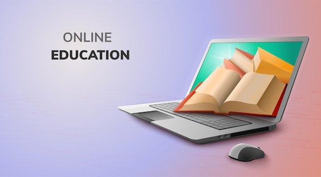 Digital online for education concept and blank space on laptop