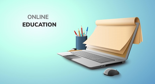 Digital online education concept and blank space on laptop