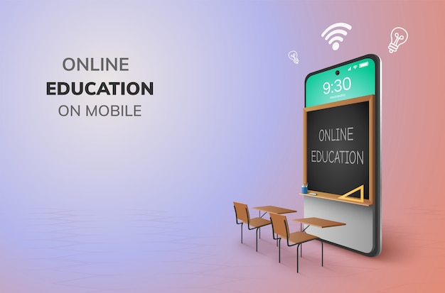 Digital online education internet and blank space on phone.
