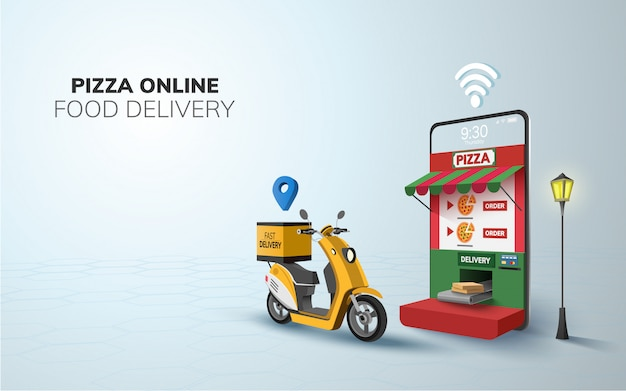 Цифровая онлайн доставка еды пиццы на скутере с телефона, мобильный сайт фон. иллюстрация. копировать пространство