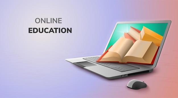 デジタルオンライン教育の概念とラップトップの空白スペース