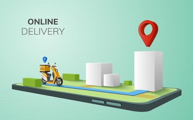 Цифровая онлайн глобальная доставка на скутере с телефона, мобильный веб-сайт фон. перспективная иллюстрация.