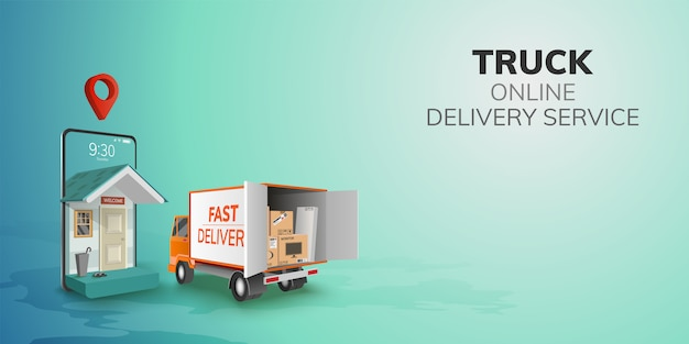 Digital online global logistic truck van delivery on phone, mobile website background. concept for location pin passenger food item shipping box.  3d   illustration. flat design. copy space