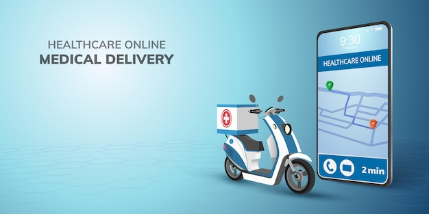 Digital online healthcare transport doctor delivery on scooter with phone.