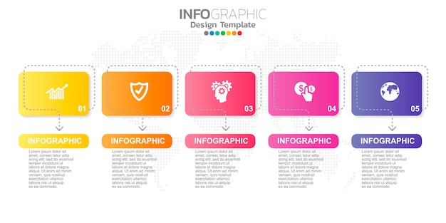 Digital online marketing infographic steps template for business contents.