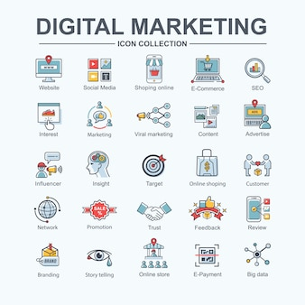 Digital online marketing web icon for business and social media marketing, content marketing.