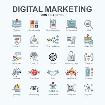 비즈니스 및 소셜 미디어 마케팅, 콘텐츠 마케팅을위한 디지털 온라인 마케팅 웹 아이콘.