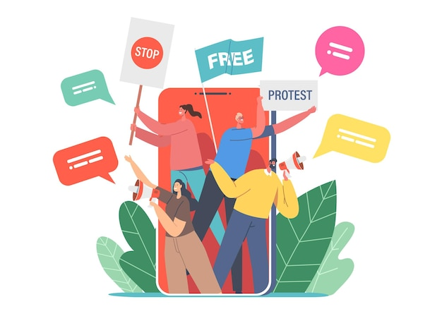 Digital online protest concept. people on huge smartphone screen protesting with placards on strike or demonstration, characters with banners and signs strike via internet. cartoon vector illustration