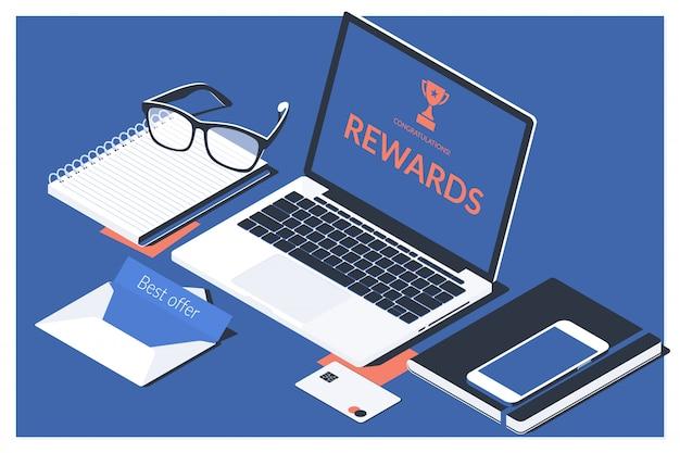 Концепция работы офиса прибыли онлайн-вознаграждений в цифровом формате