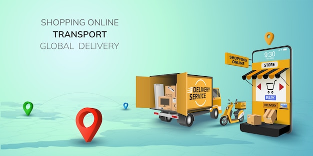 Digital online shop global logistic truck van scooter black yellow delivery on phone, mobile website background. concept for location shopping food shipping box. 3d   illustration. copy space
