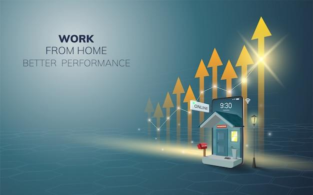 집에서 디지털 온라인 작업은 휴대 전화, 모바일 웹 사이트 배경에서 성능을 향상시킵니다. 사회적 거리 개념. 삽화.