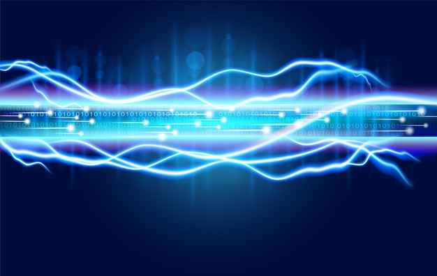 Digital optical fiber technology abstracts with the spark power of high voltage electricity