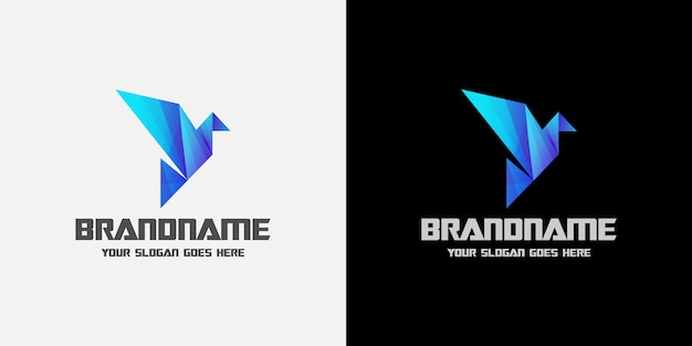 Digital origami bird blue logo