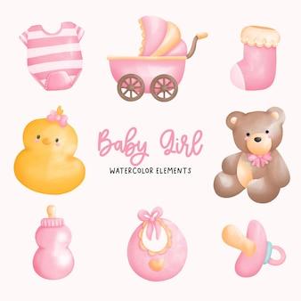디지털 페인트, 아기 소녀 수채화 요소입니다.