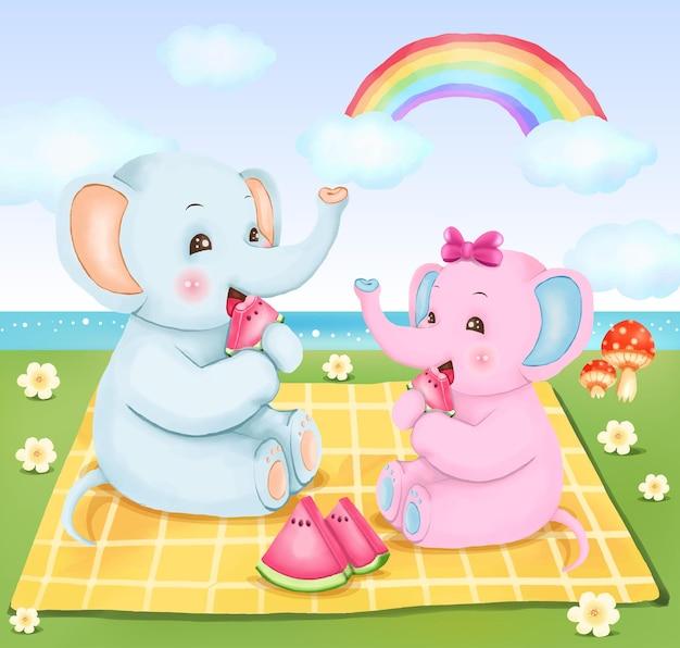 디지털 페인트 파란색 코끼리 앉아서 수박을 먹고