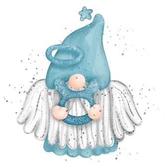 Digital paint watercolor gnome aquarius zodiac sign isolated on white background cute gnome with wi