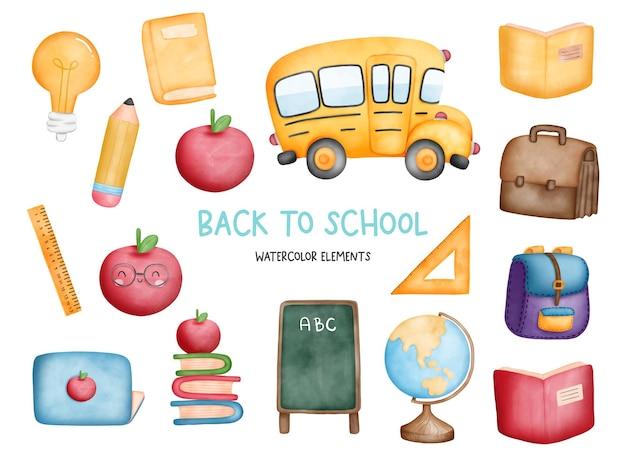 Digital painting back to school element school bus