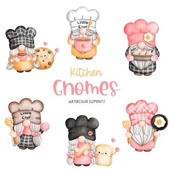 Digital painting cooking gnome chef gnome elements Premium Vector