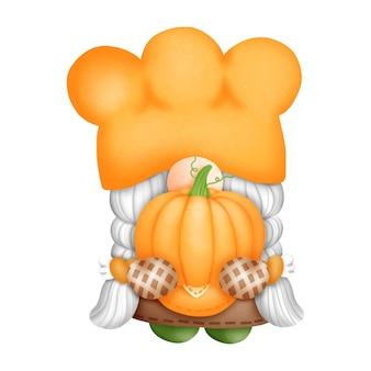 Digital painting pumpkin gnome watercolor element. autumn gnome vector illustration