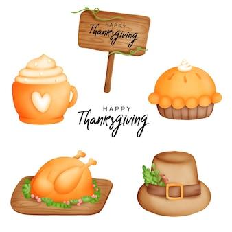 Digital painting pumpkin pie , happy thanksgiving watercolor element. vector illustration