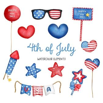 デジタル絵画水彩画7月4日要素独立記念日要素