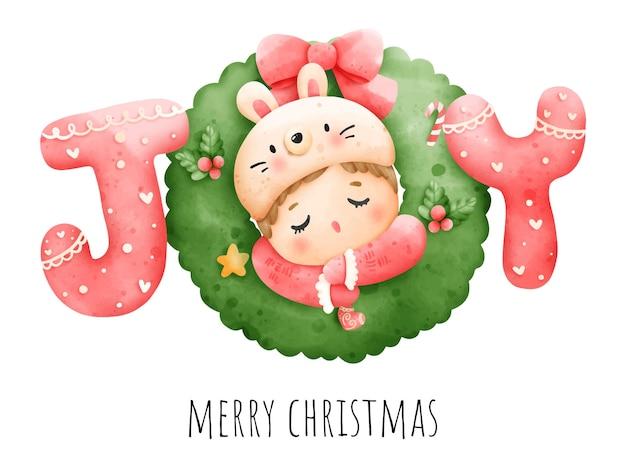 디지털 페인팅 수채화 아기 크리스마스 카드입니다. 크리스마스 아기 벡터입니다.