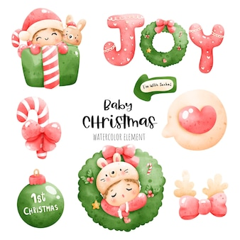 Цифровая живопись акварель детские рождественские открытки. рождественский ребенок вектор.