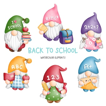 Digital painting watercolor back to school gnomes elements student gnome