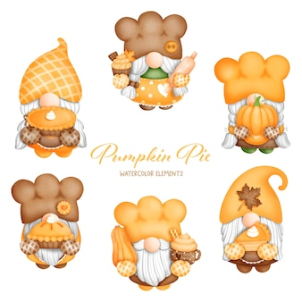 Digital painting watercolor baker gnomes elements, pumpkin gnome gnome