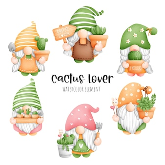 Digital painting watercolor cactus gnome element. plant and gardening vector.