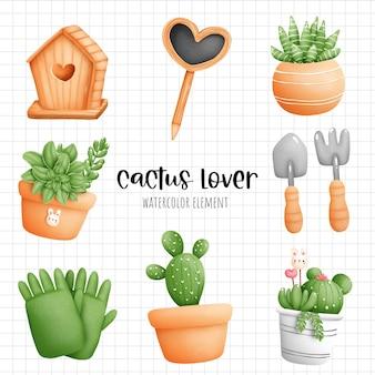 Цифровая живопись акварель кактус в горшке элемент. вектор растений и садоводства.
