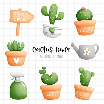 Digital painting watercolor cactus in the pot element. plant and gardening vector.