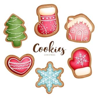 Digital painting watercolor christmas animal cookies