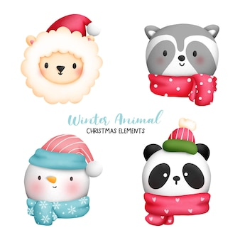 Digital painting watercolor christmas animal face element