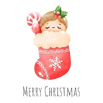 Цифровая живопись акварель рождественский младенец в носке на белом фоне, рождественский элемент вектора.