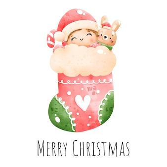 Цифровая живопись акварель рождественский ребенок в носке, изолированные на белом фоне