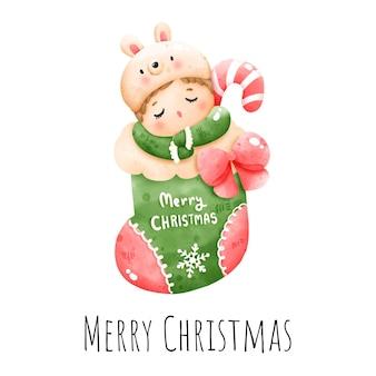 Цифровая картина акварель новогодняя малышка в носке