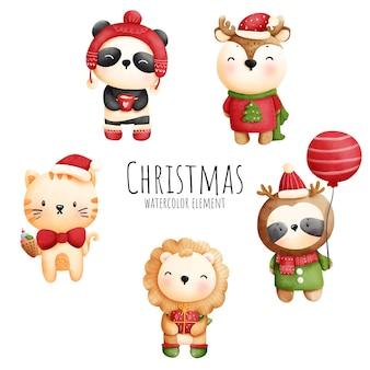 かわいい動物とデジタル絵画水彩クリスマスバナー