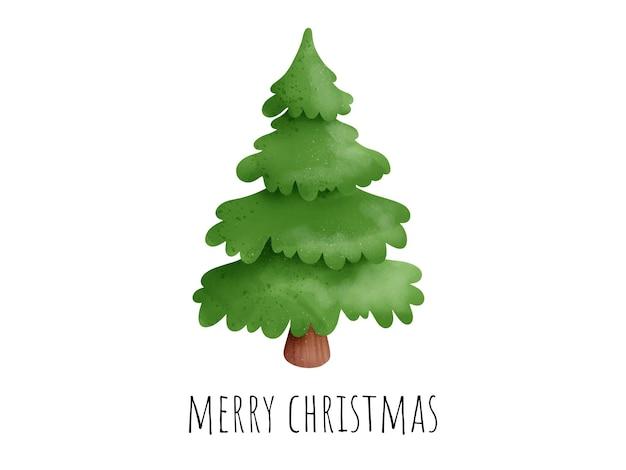 デジタル絵画水彩クリスマスカード。クリスマスツリーのベクトル。