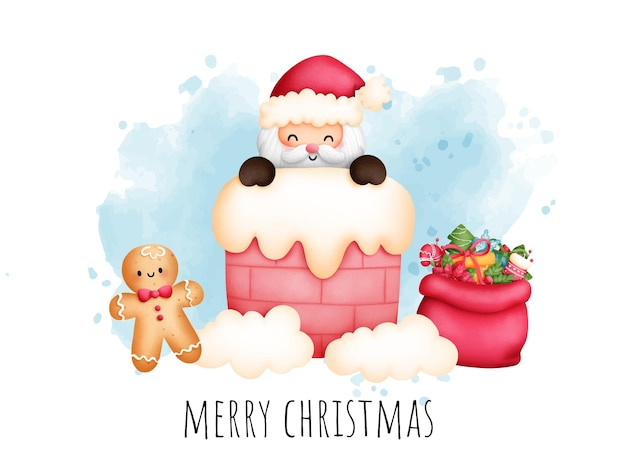 Digital painting watercolor christmas card with cute santa and christmas element