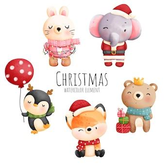 Цифровая живопись акварель рождественский элемент с милым животным